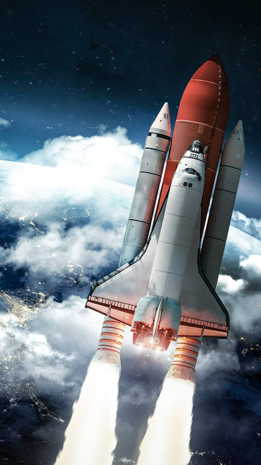 Rocket Heading Towards Space iPhone Wallpaper