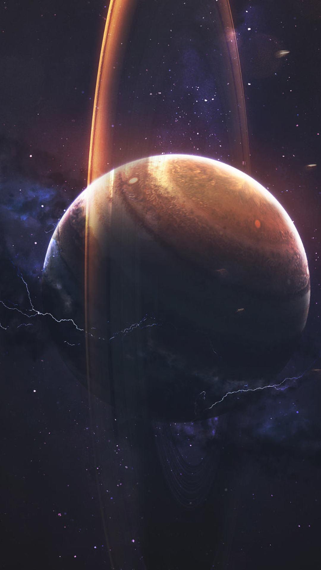 Saturn Scifi Planet Space iPhone Wallpaper