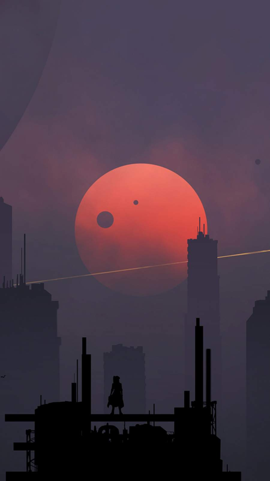 Scifi City Minimalism iPhone Wallpaper