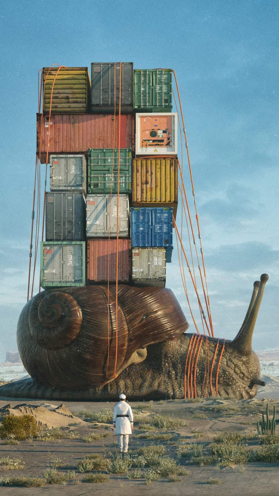 Snail Transport iPhone Wallpaper