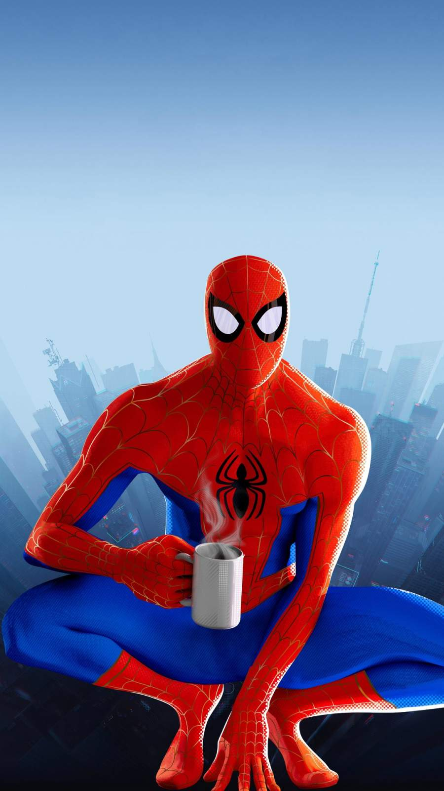 Spiderman and Coffee iPhone Wallpaper