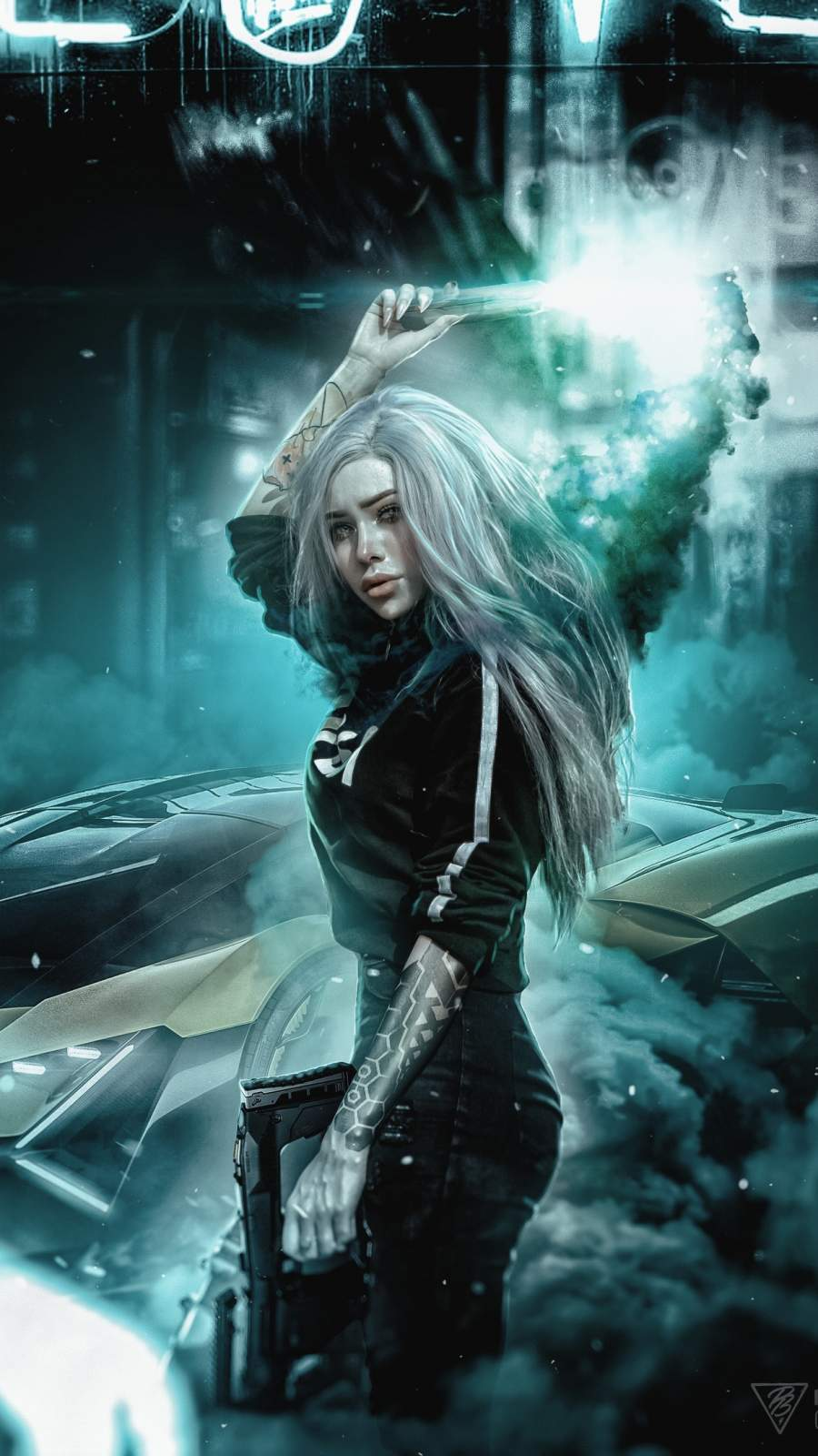 Street Racing Girl Smoke iPhone Wallpaper
