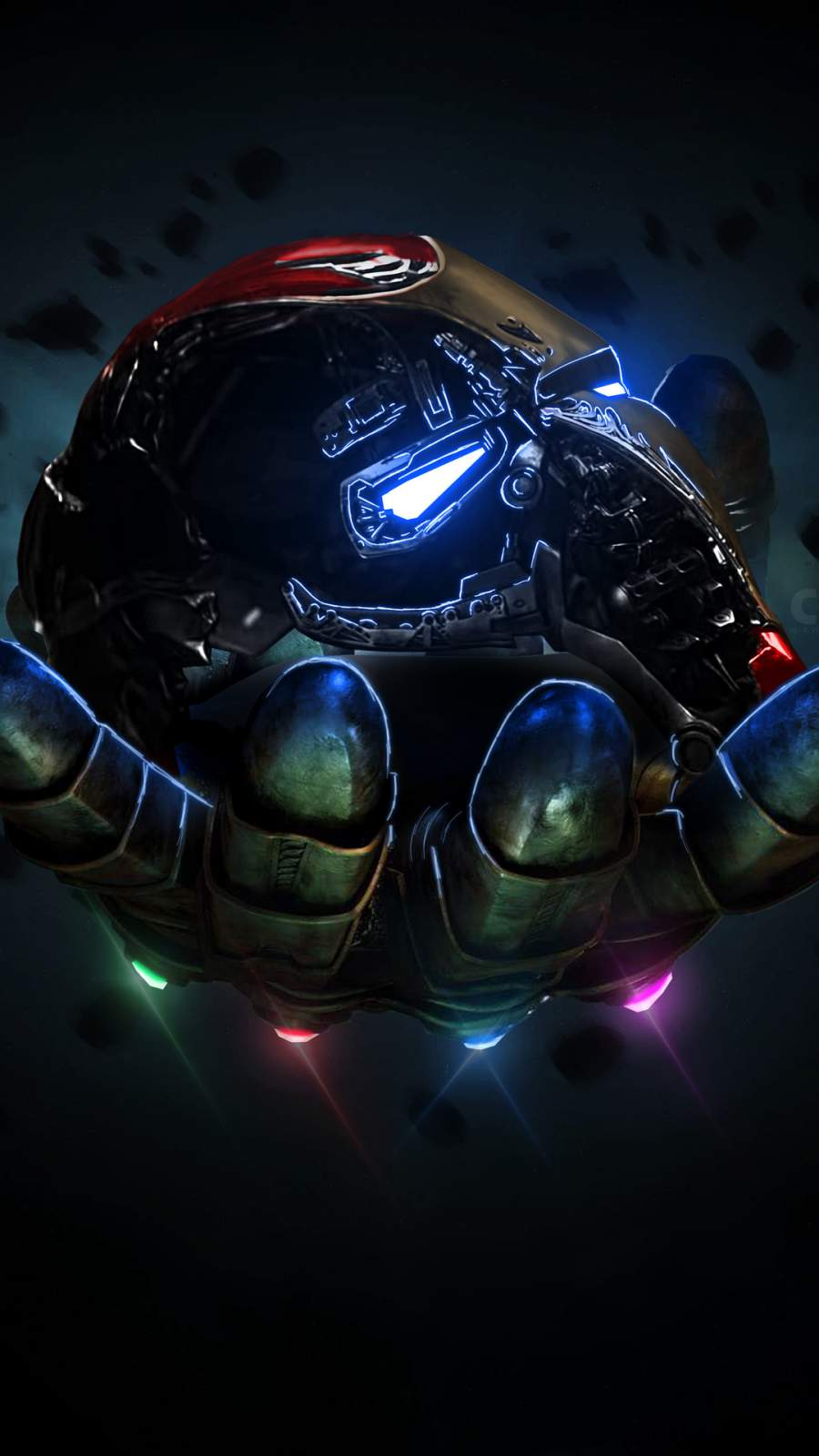 Thanos Infinity Gauntlet Holding Iron Man Mask iPhone Wallpaper