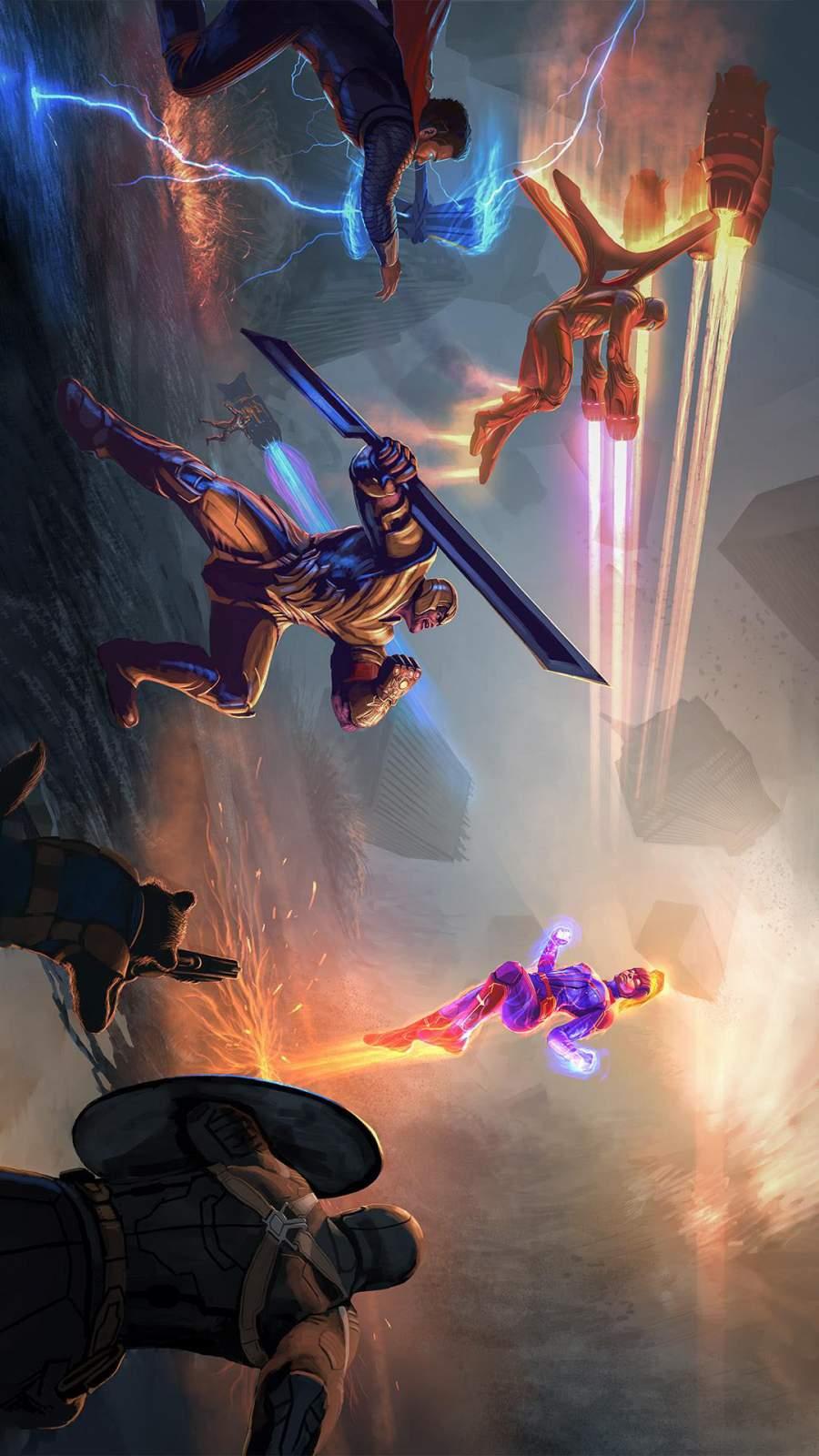 Thanos and Avengers vs Captai Marvel iPhone Wallpaper
