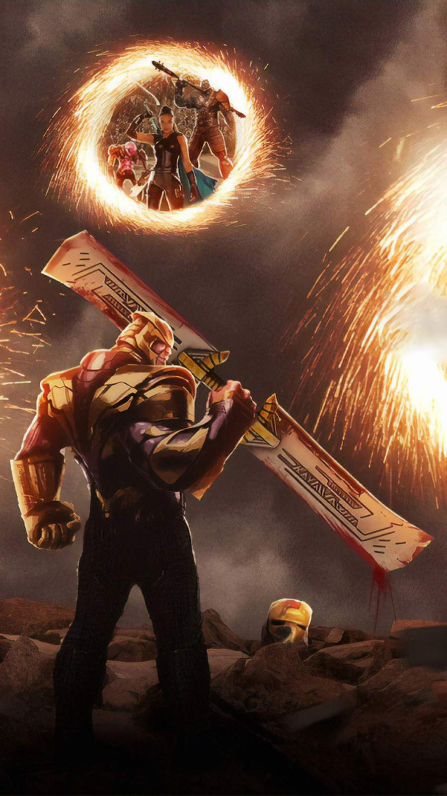 Thanos vs Avengers iPhone Wallpaper