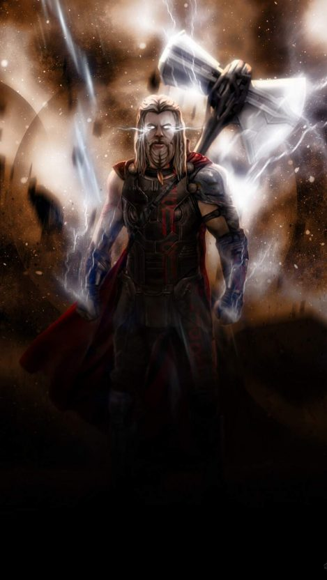 Thor with Stormbreaker iPhone Wallpaper