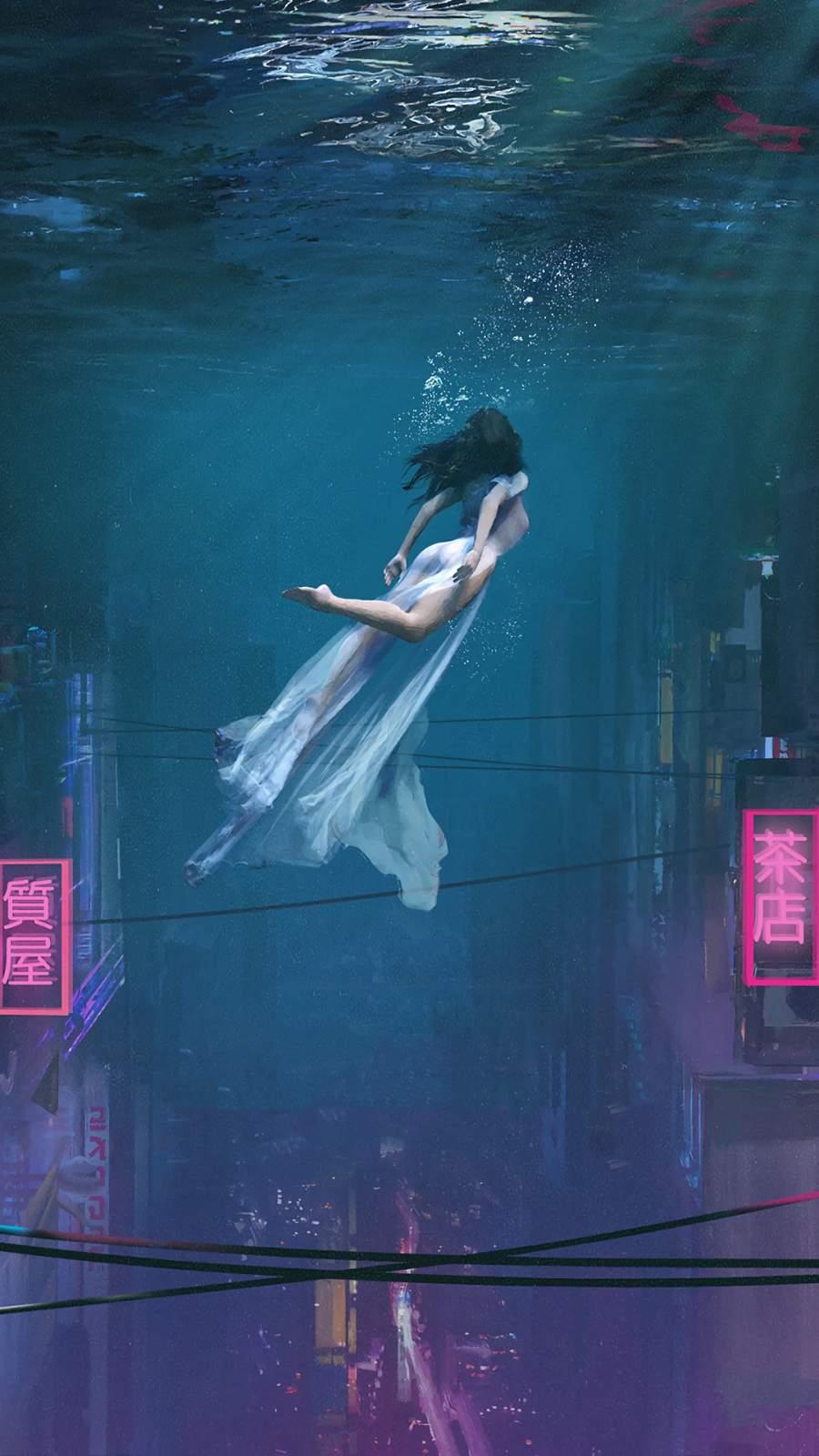 Underwater City Mermaid iPhone Wallpaper
