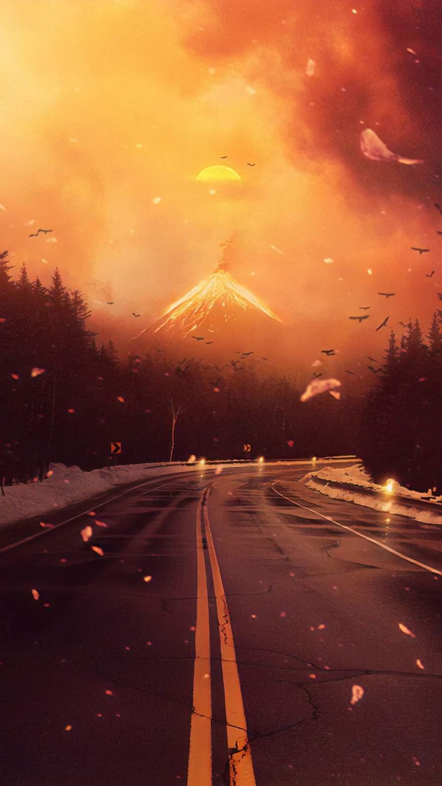 Volcano Road iPhone Wallpaper