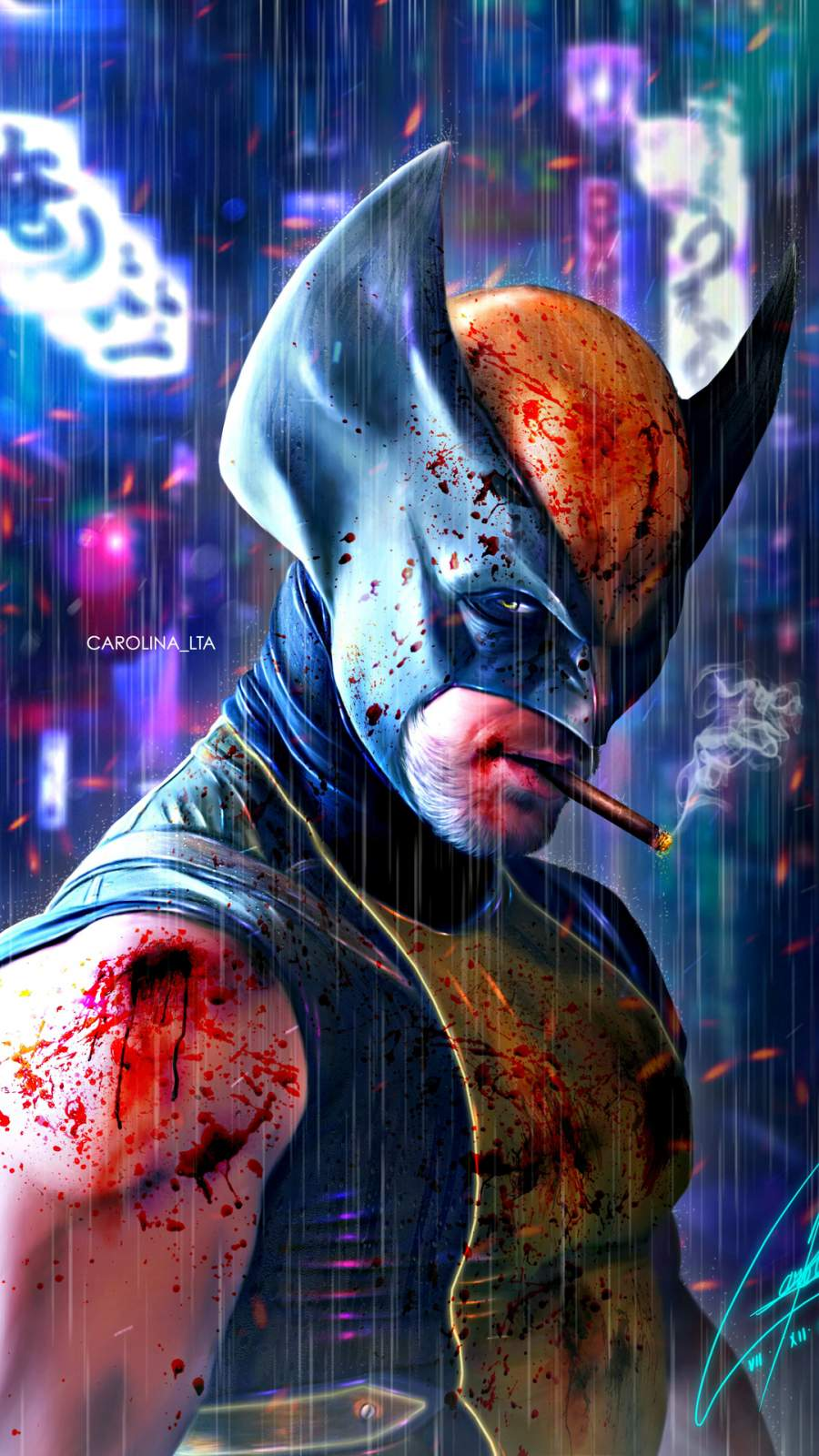 Wolverine Cyberpunk iPhone Wallpaper