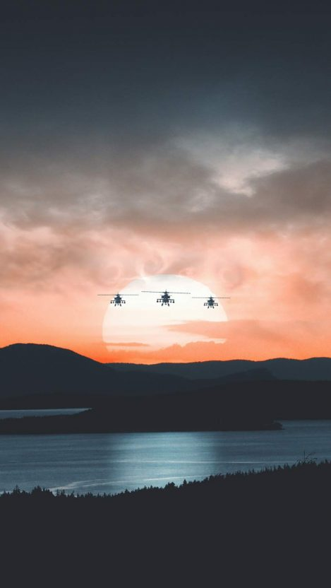 Apache Helicopter Trio iPhone Wallpaper