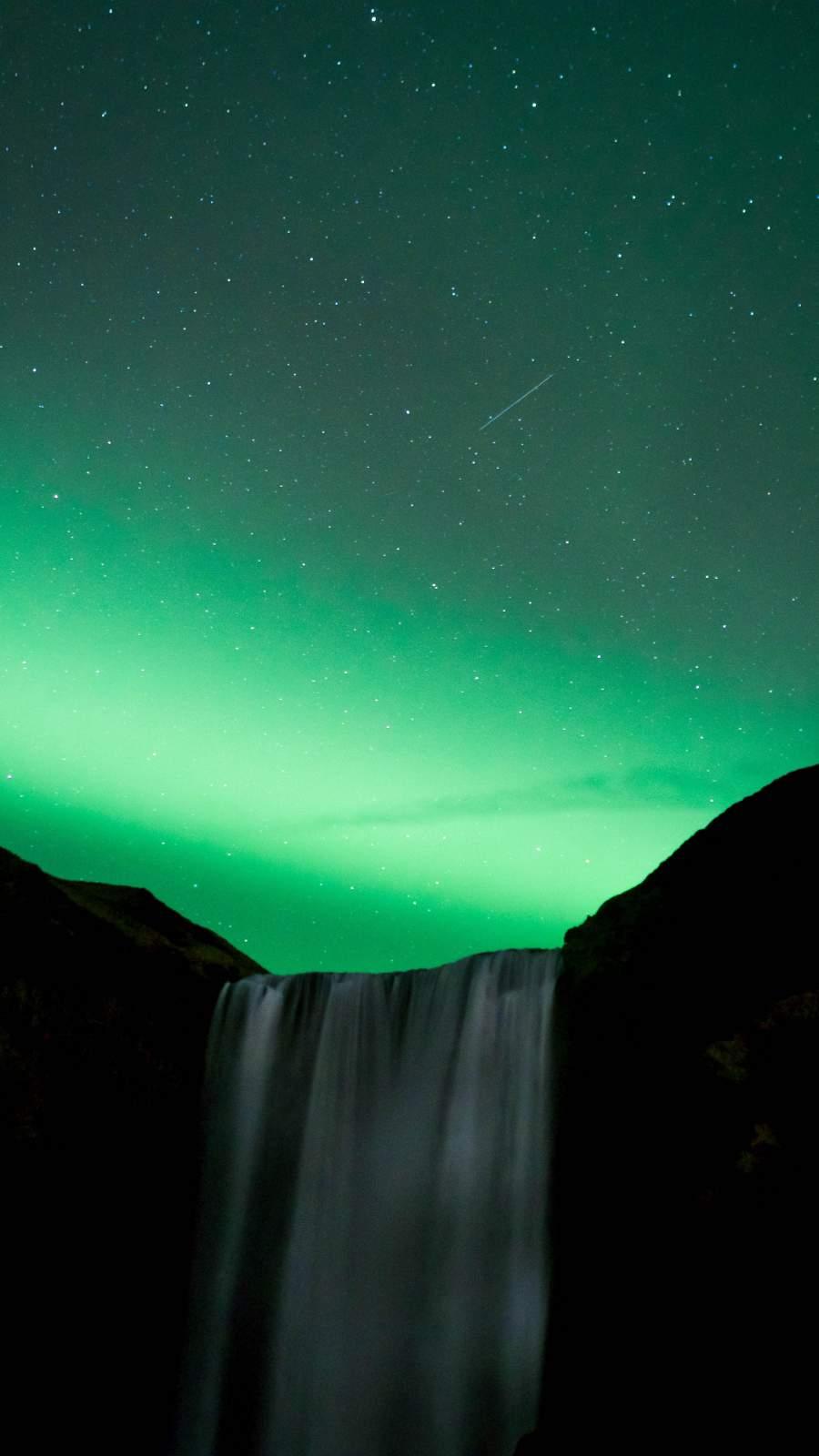 Aurora Waterfall iPhone Wallpaper