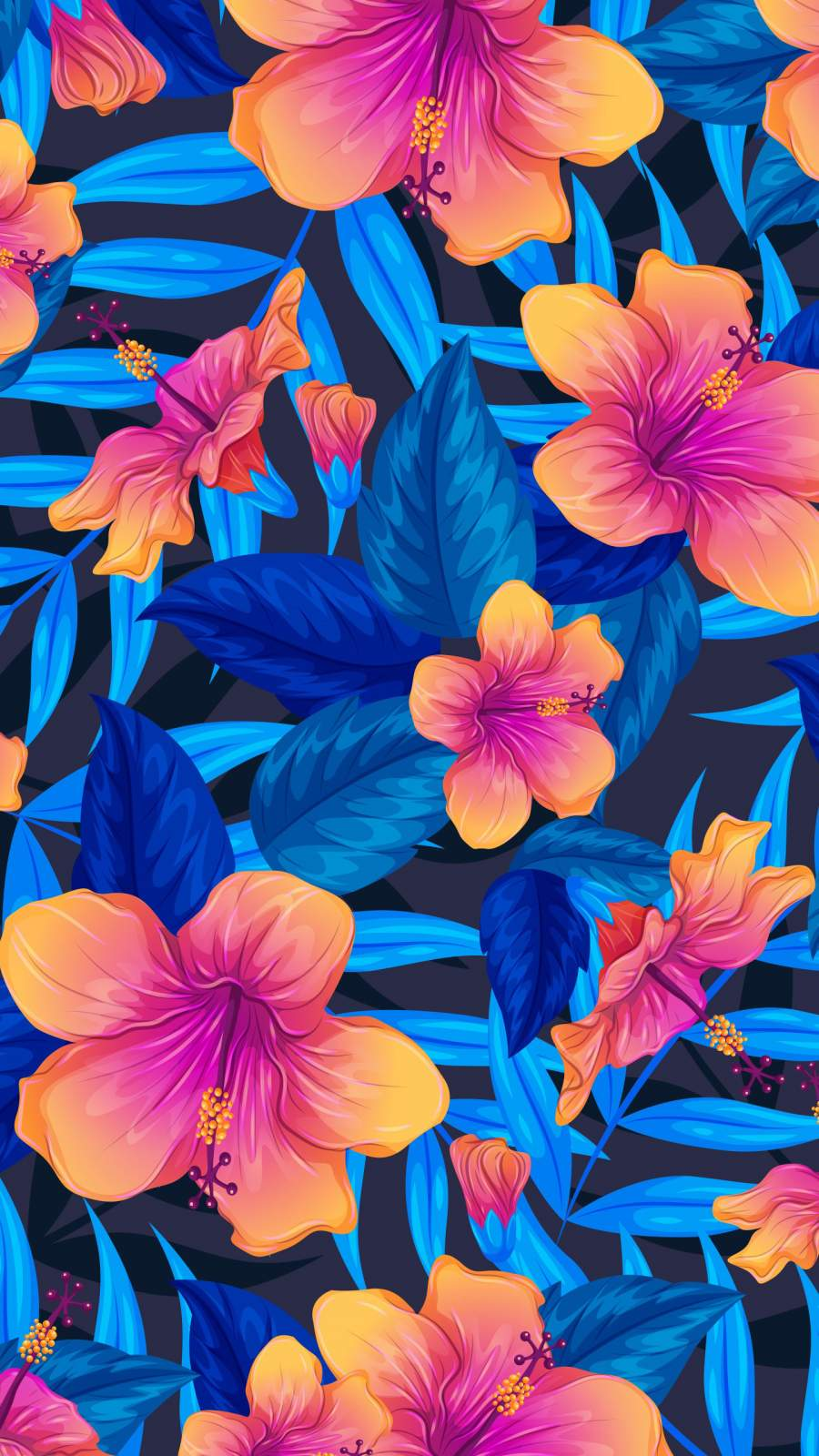 Colorful Flowers Art iPhone Wallpaper
