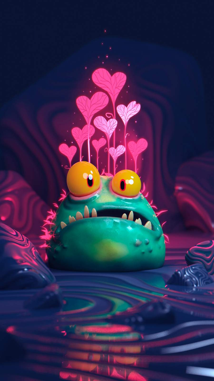 Cute Monster iPhone Wallpaper