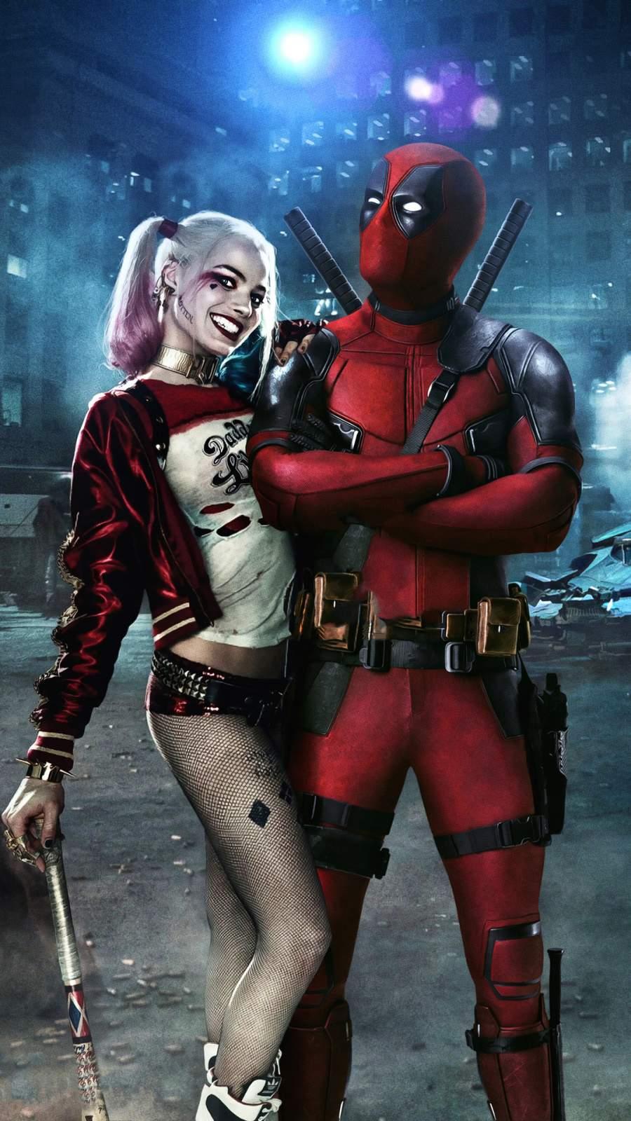 Deadpool and Harley Quinn iPhone Wallpaper