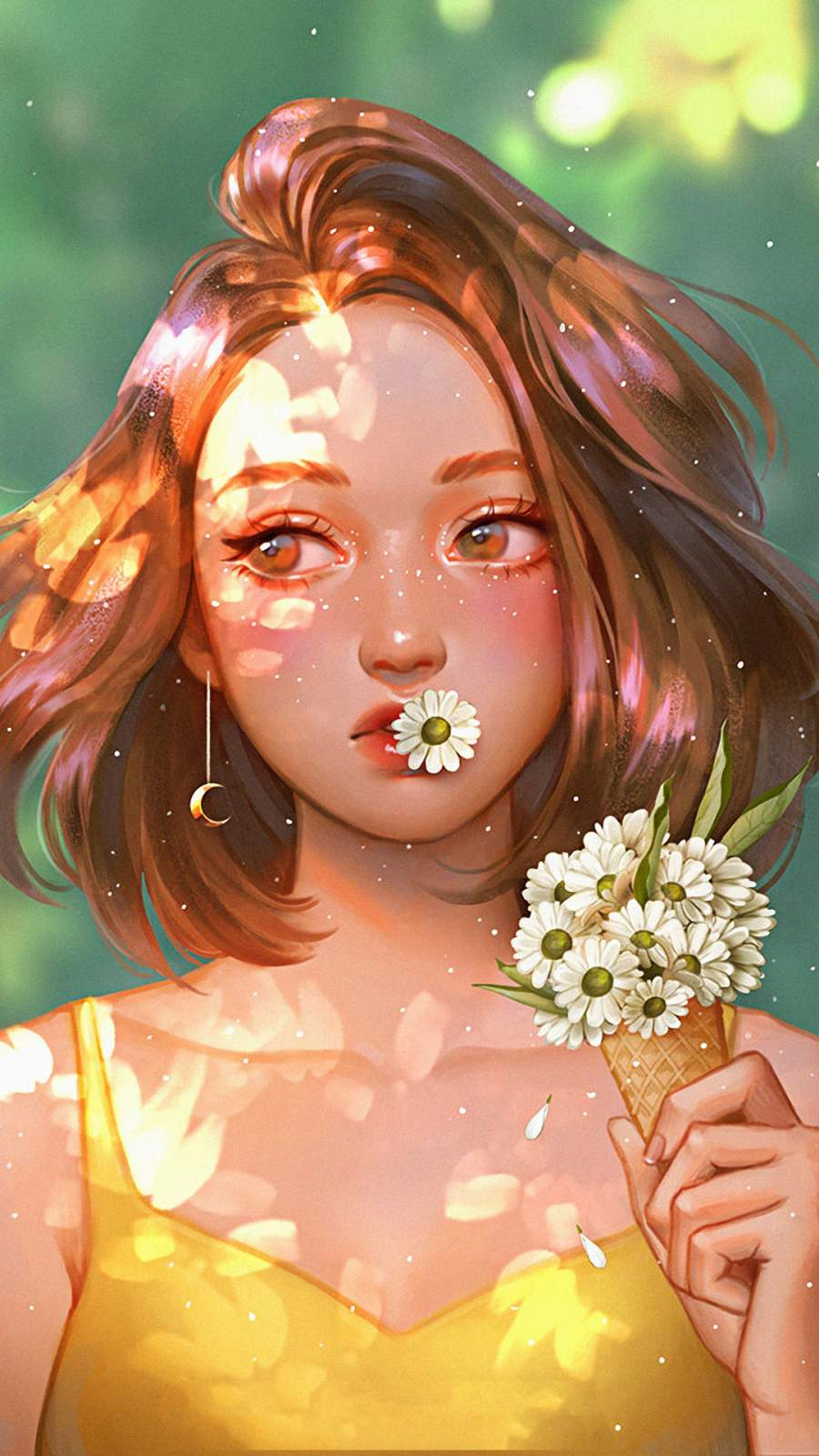 Girl with Daisy Flowers iPhone Wallpaper