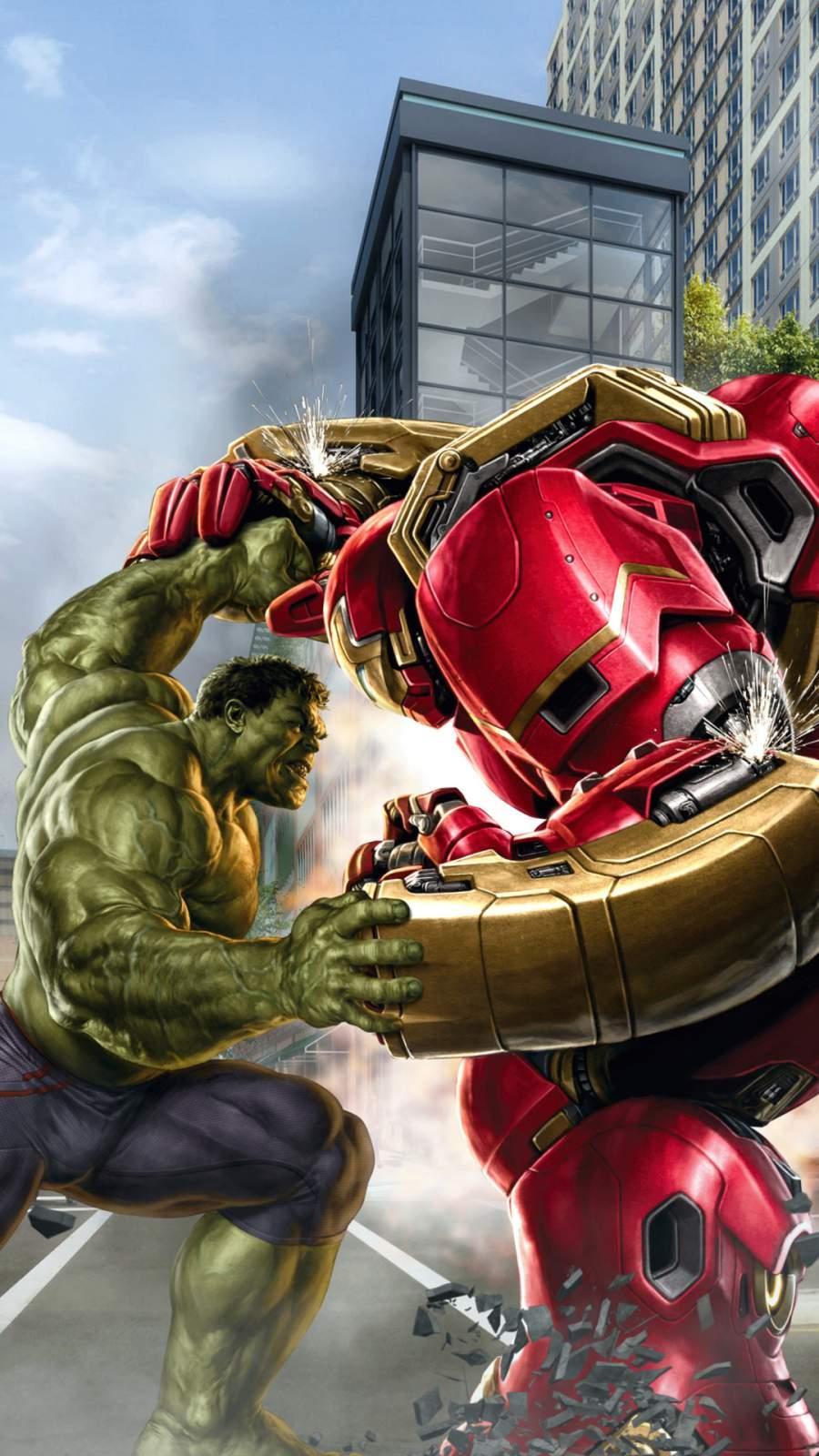 Hulk vs Hulkbuster iPhone Wallpaper