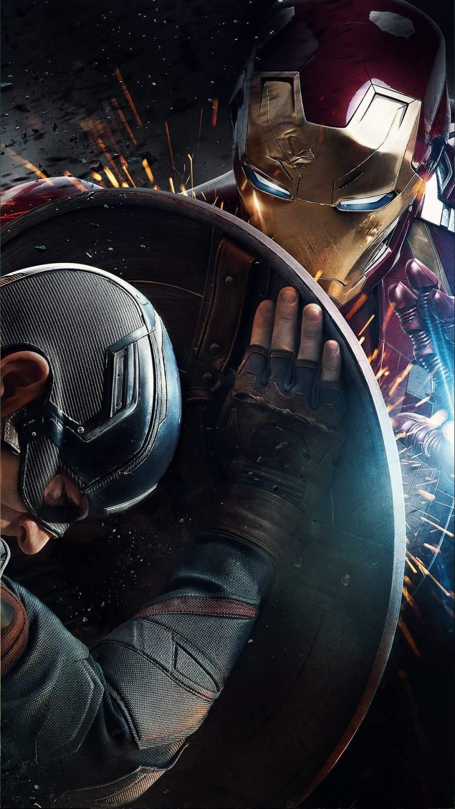 Iron Man vs Captain America Civil War iPhone Wallpaper