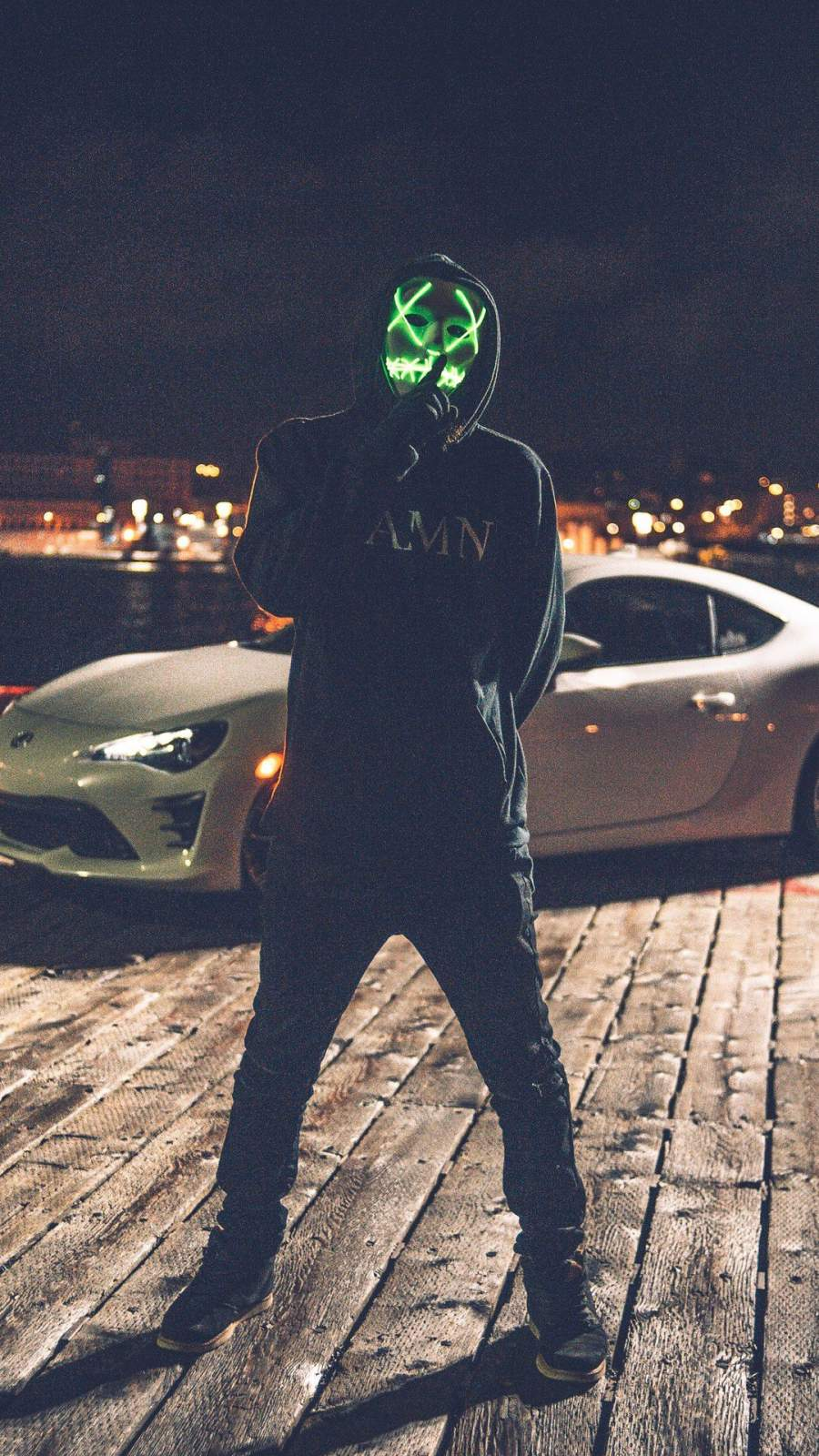 Mask Man with Car iPhone Wallpaper