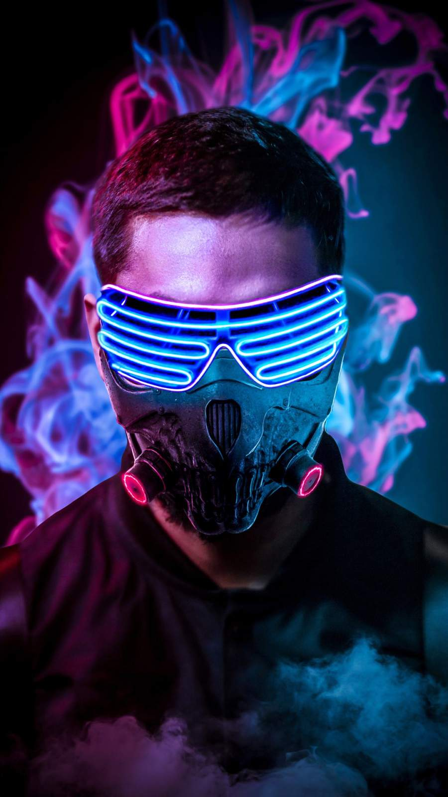 Neon Face Mask iPhone Wallpaper