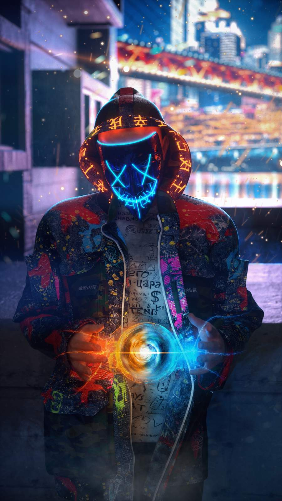 Neon Guy iPhone Wallpaper