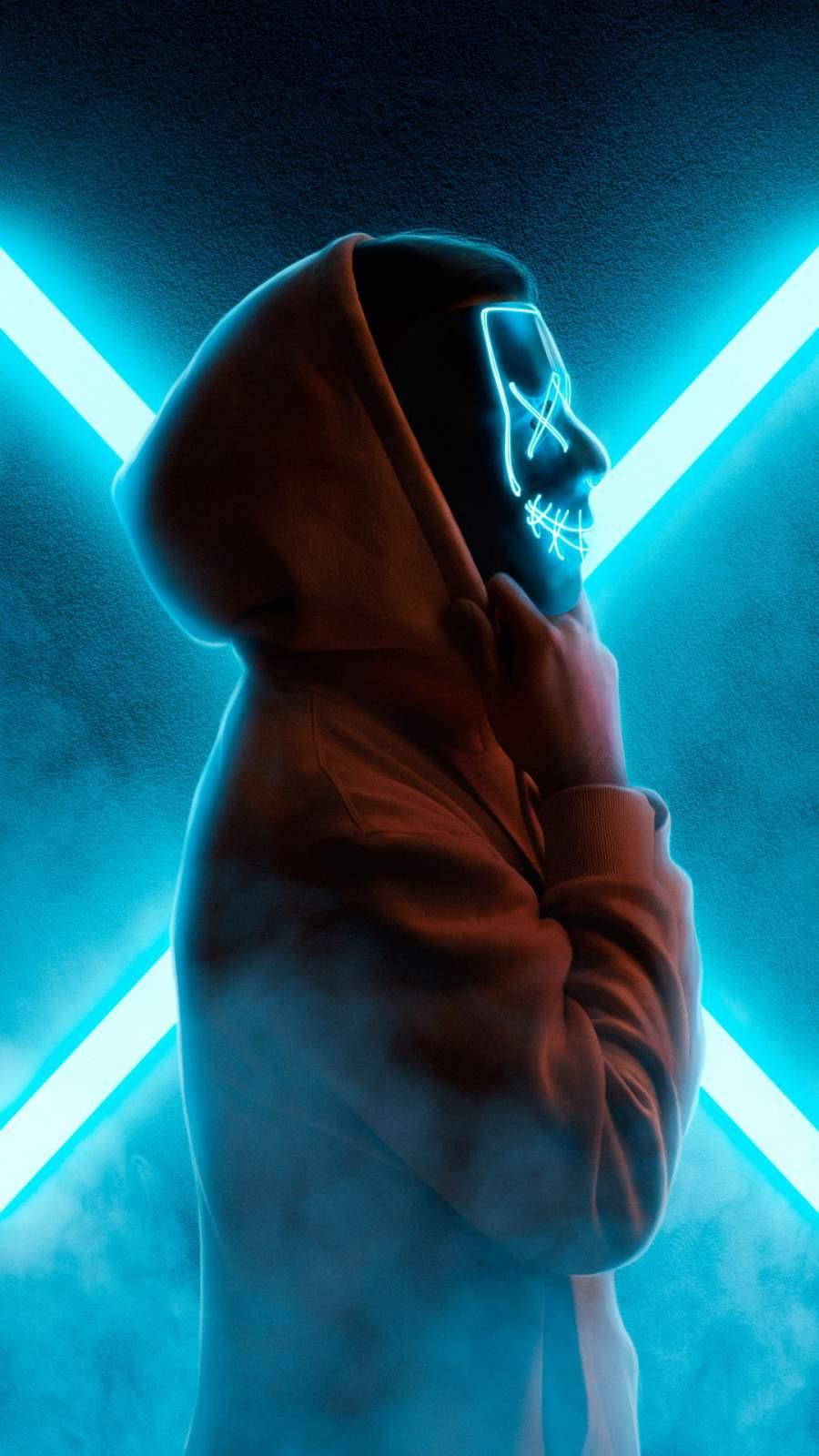 Neon Mask Hoodie iPhone Wallpaper