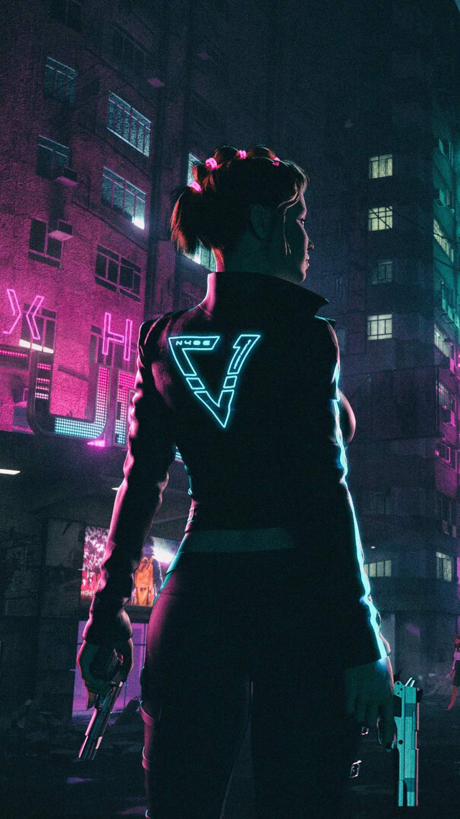 Neon Night Girl iPhone Wallpaper
