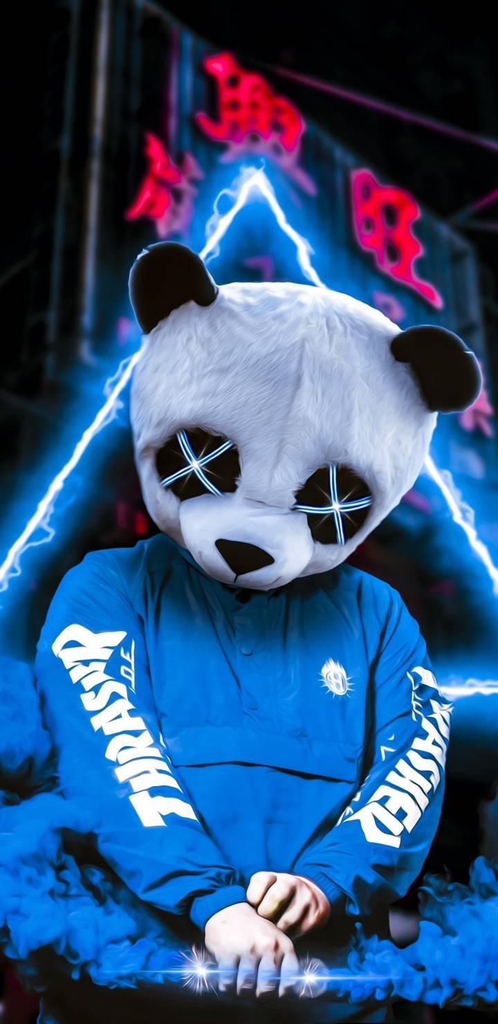 Neon Panda iPhone Wallpaper