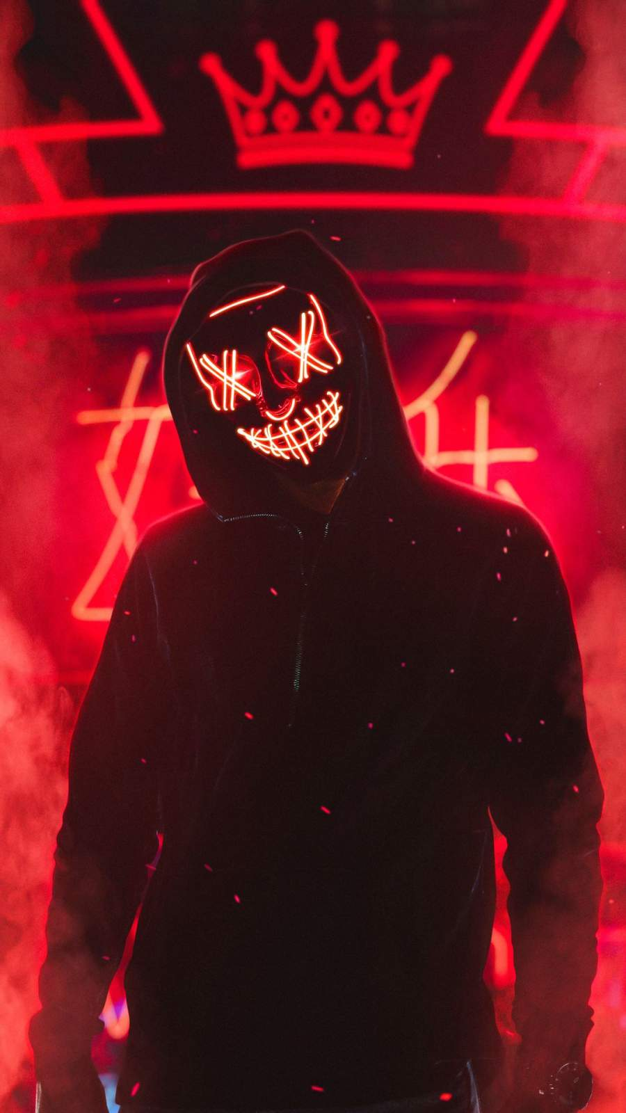 Neon Stitched Mask Guy iPhone Wallpaper