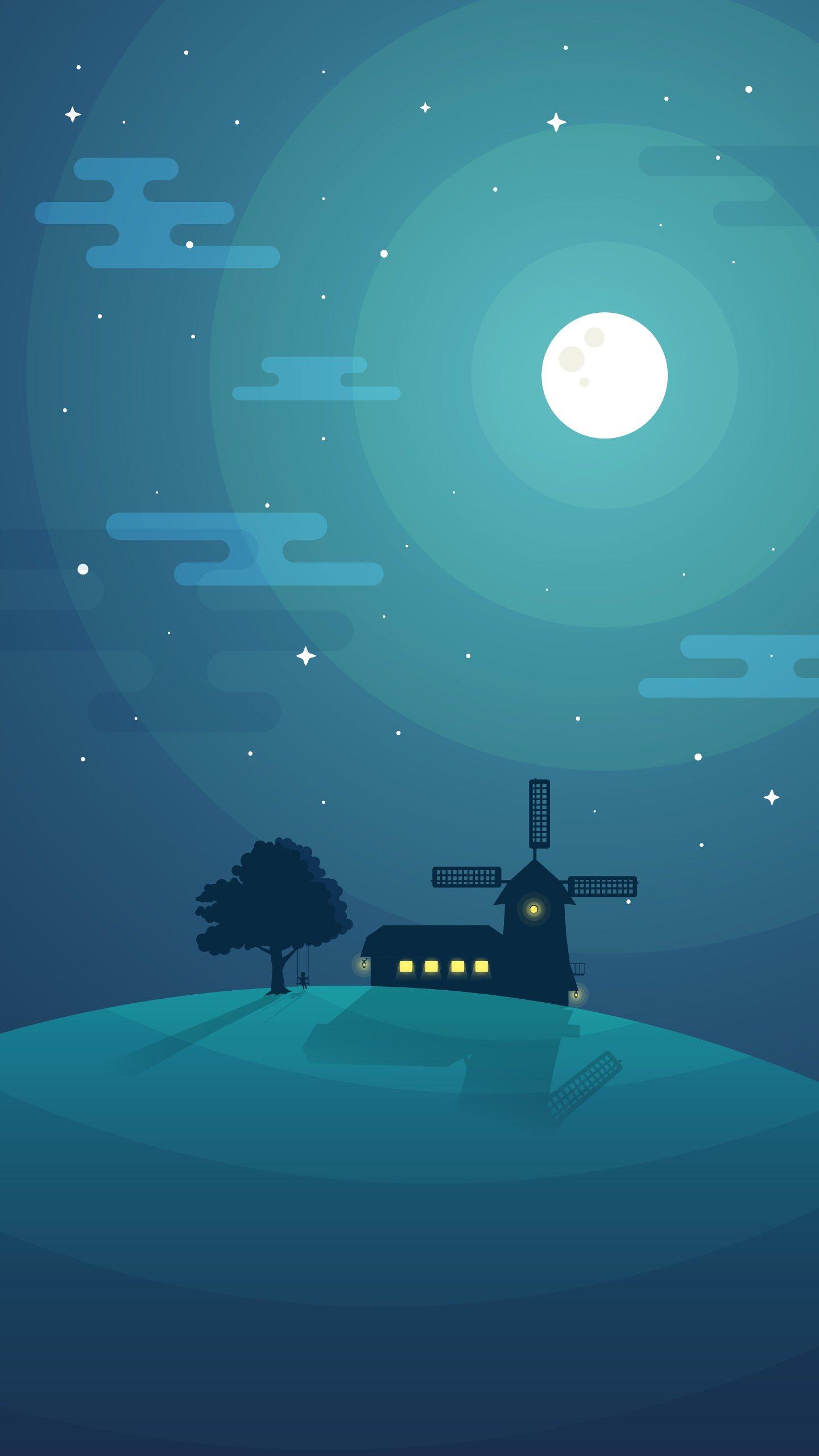 Night Hill iPhone Wallpaper