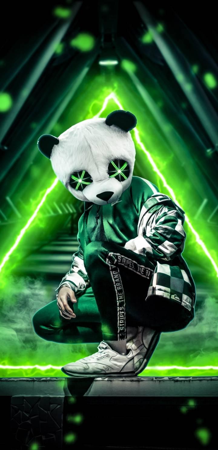 Panda Neon iPhone Wallpaper