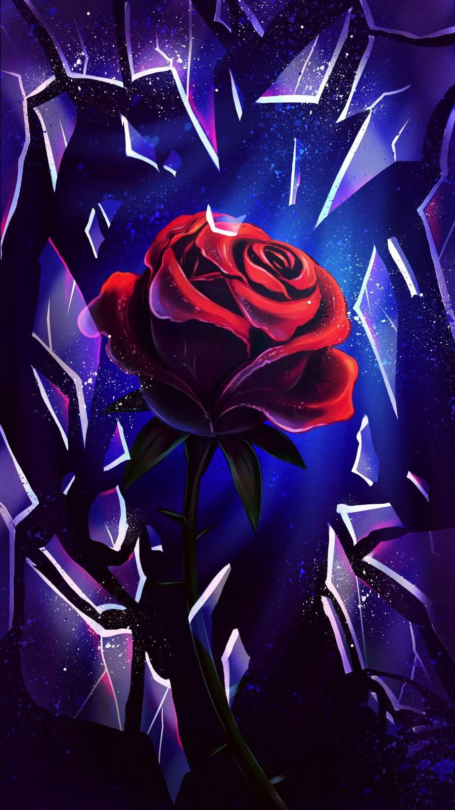 Red Rose Artwork iPhone Wallpaper