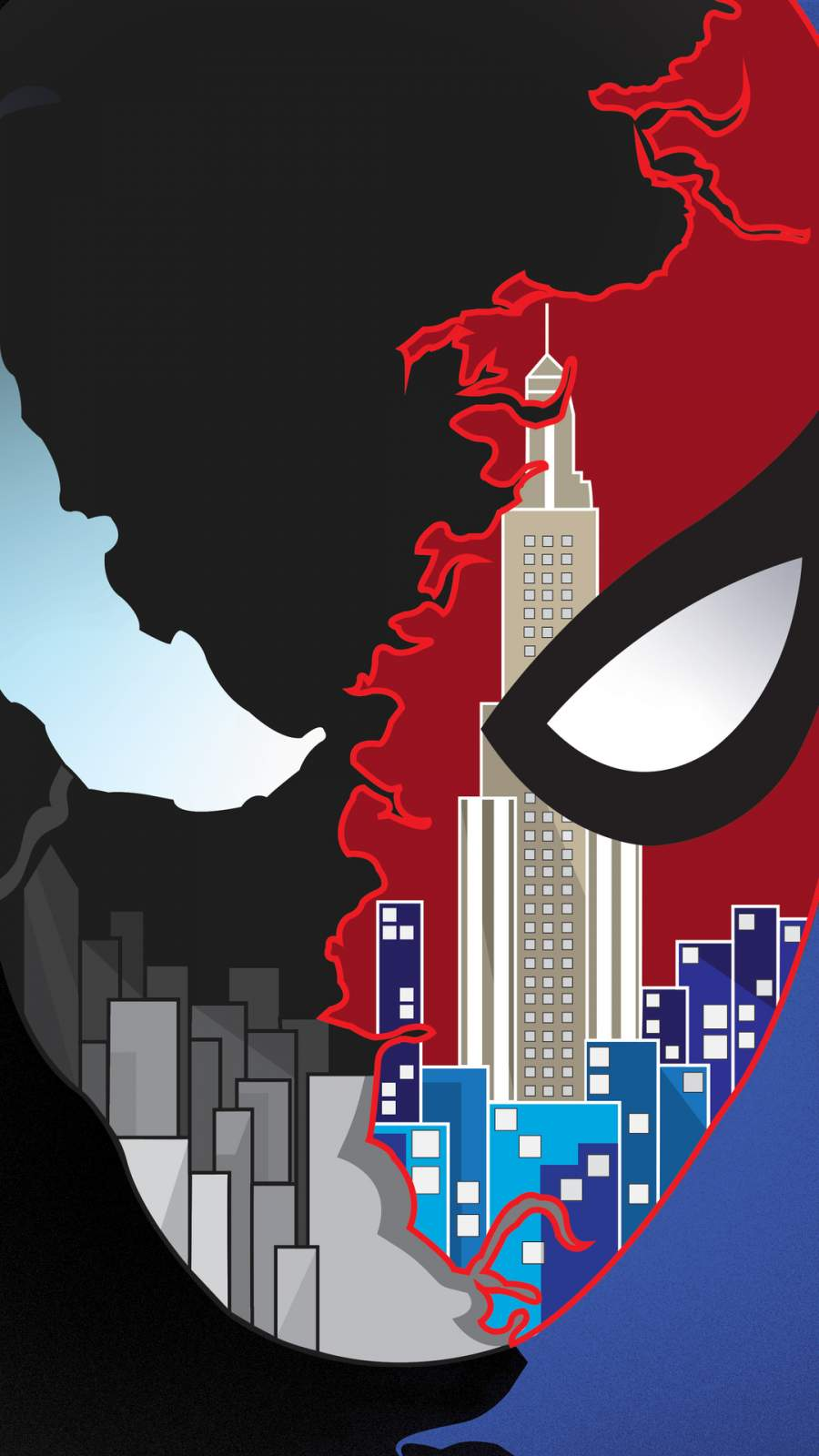 Spider Man vs Venom Art iPhone Wallpaper