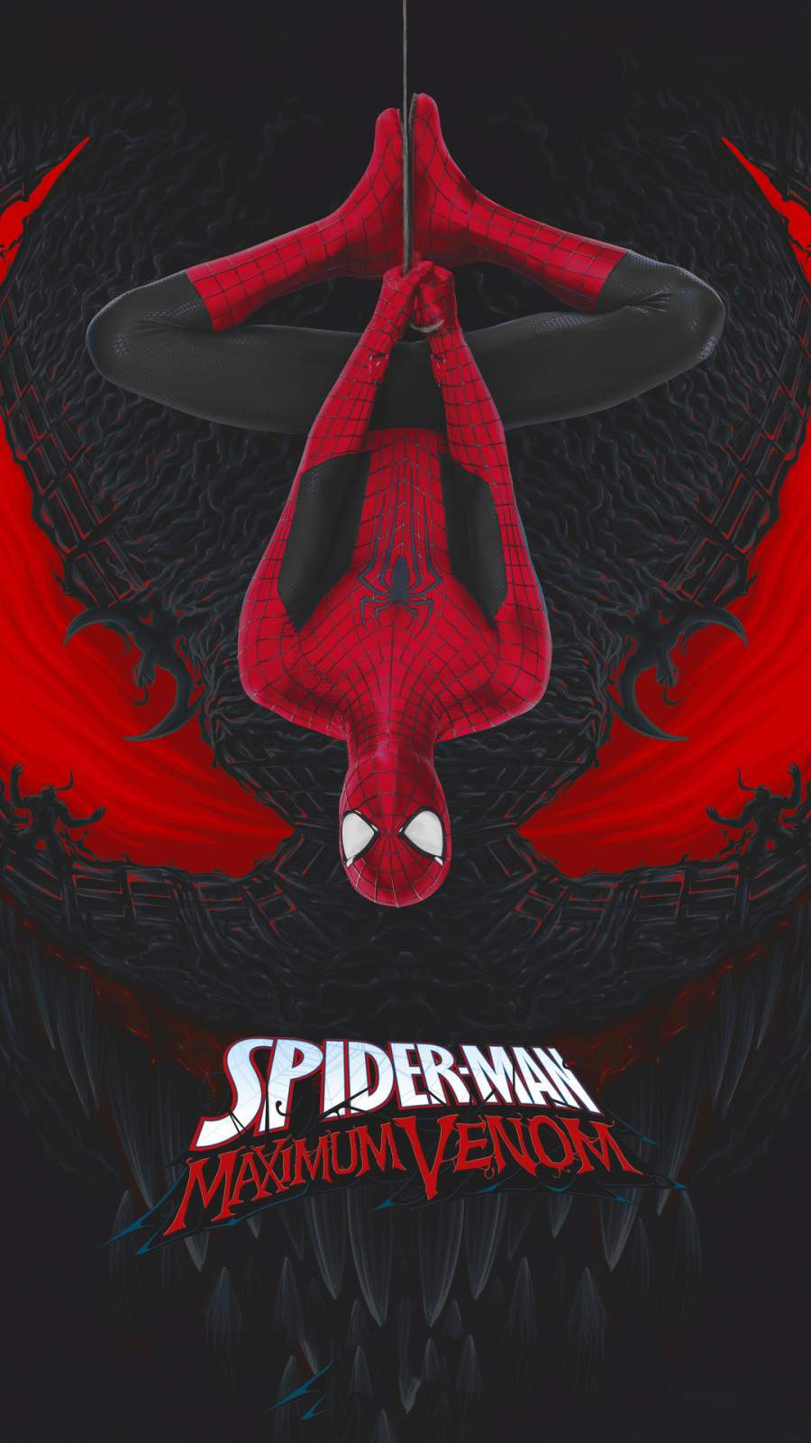 Spiderman Venom Art iPhone Wallpaper