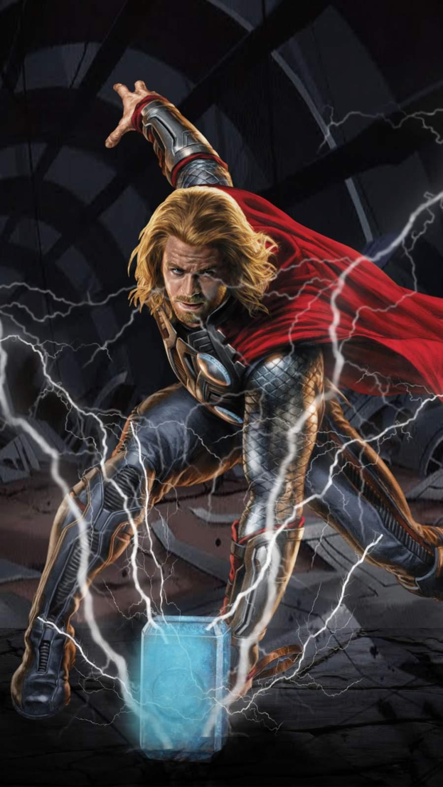 Thor Thunder Art iPhone Wallpaper
