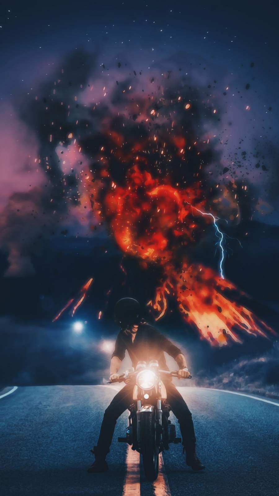 Volcano vs Biker iPhone Wallpaper