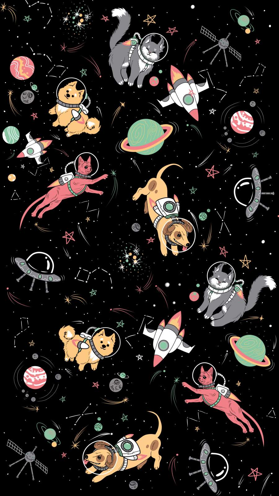 Animals in the Space iPhone Wallpaper