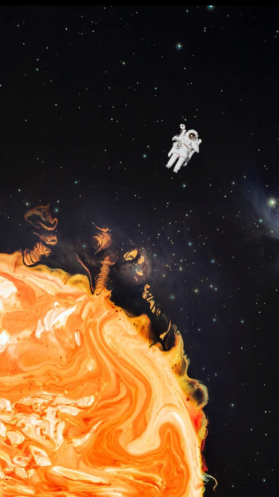 Astronaut Near Sun iPhone Wallpaper
