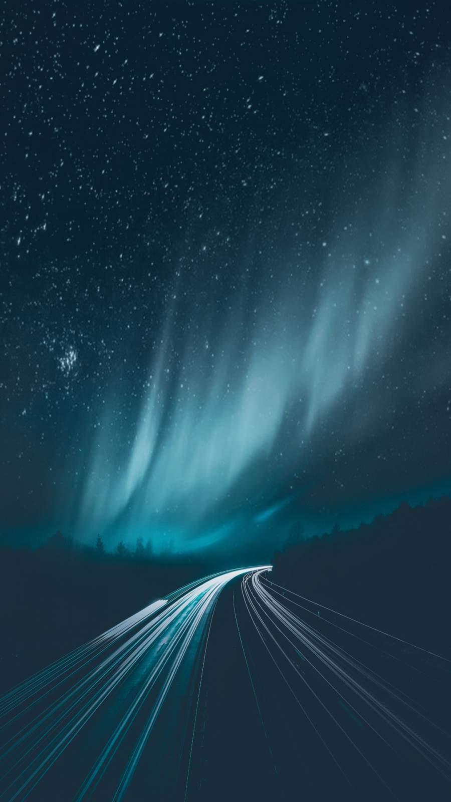Aurora Borealis Road iPhone Wallpaper