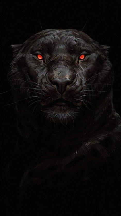 Black Panther Glowing Eye iPhone Wallpaper