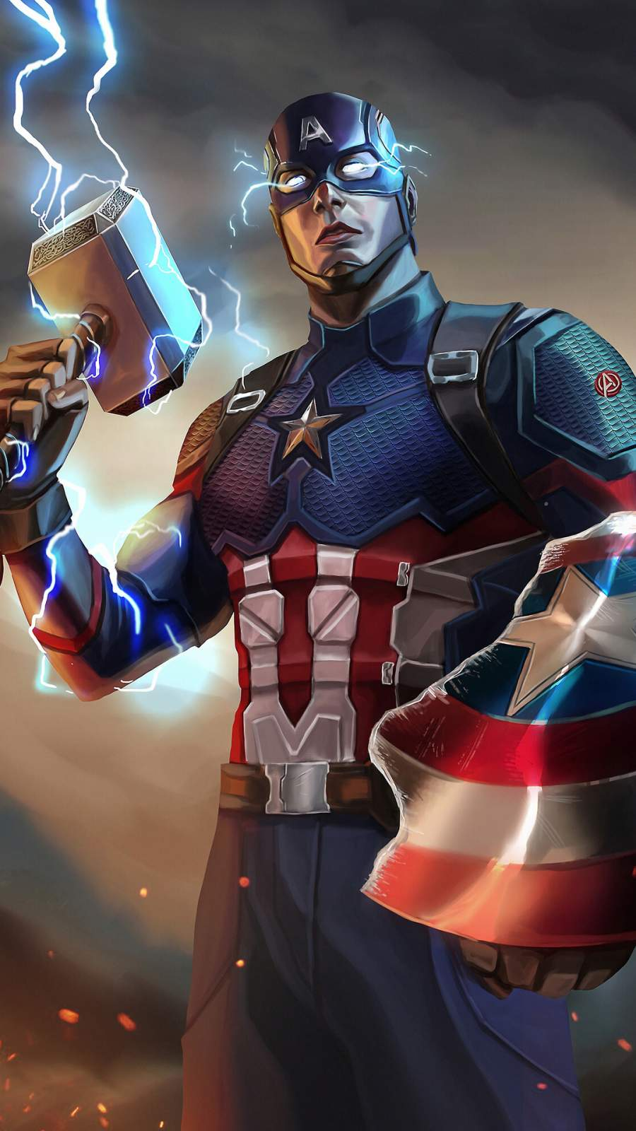 Captain America Mjolnir Artwork iPhone Wallpaper