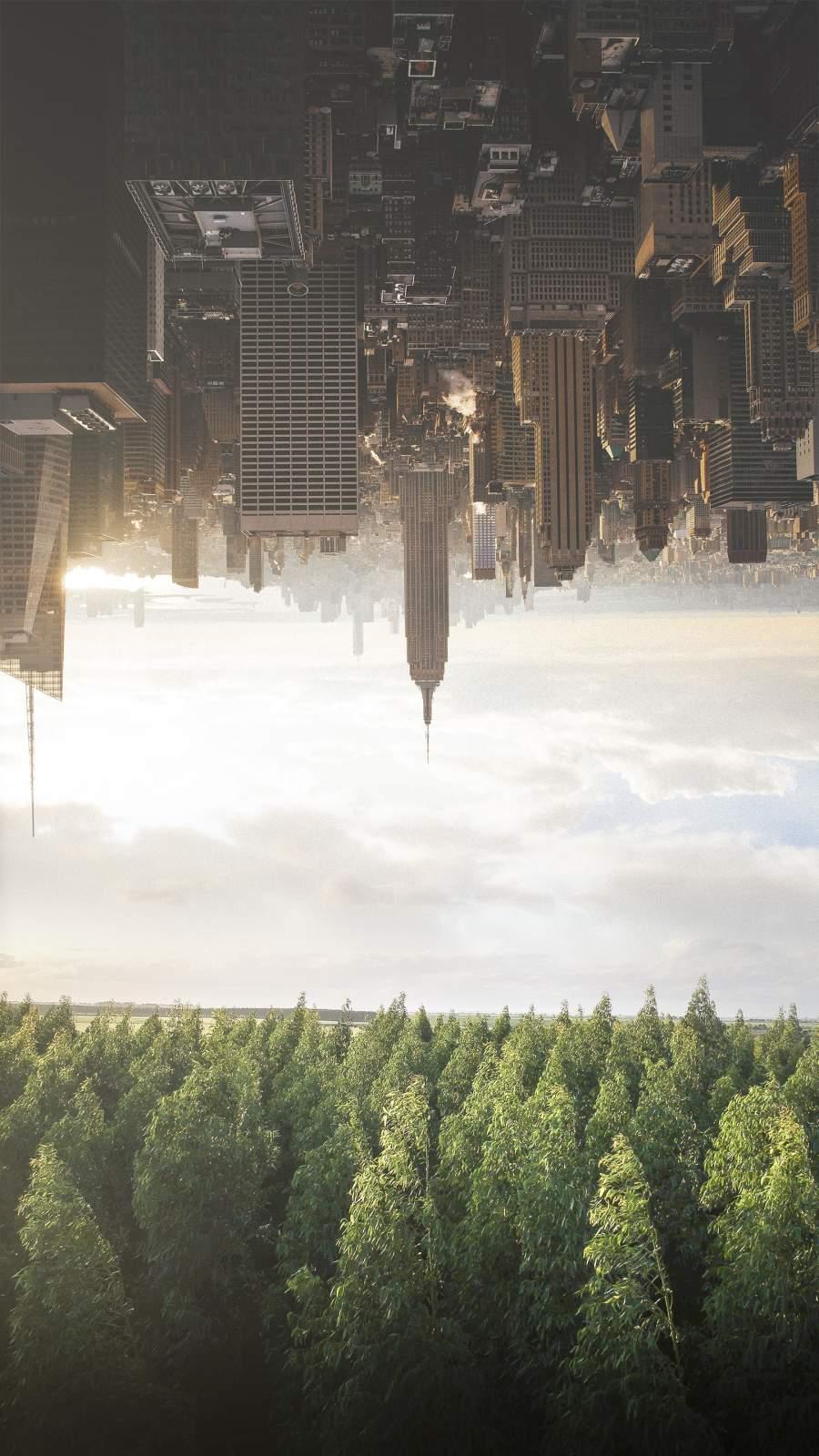 City vs Nature iPhone Wallpaper