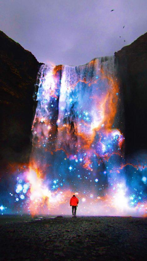 Cosmic Waterfall iPhone Wallpaper