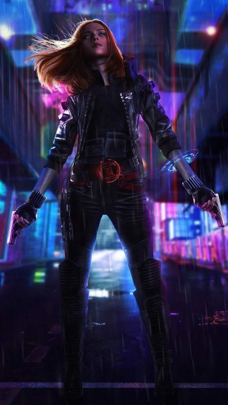 Cyberpunk Black Widow iPhone Wallpaper