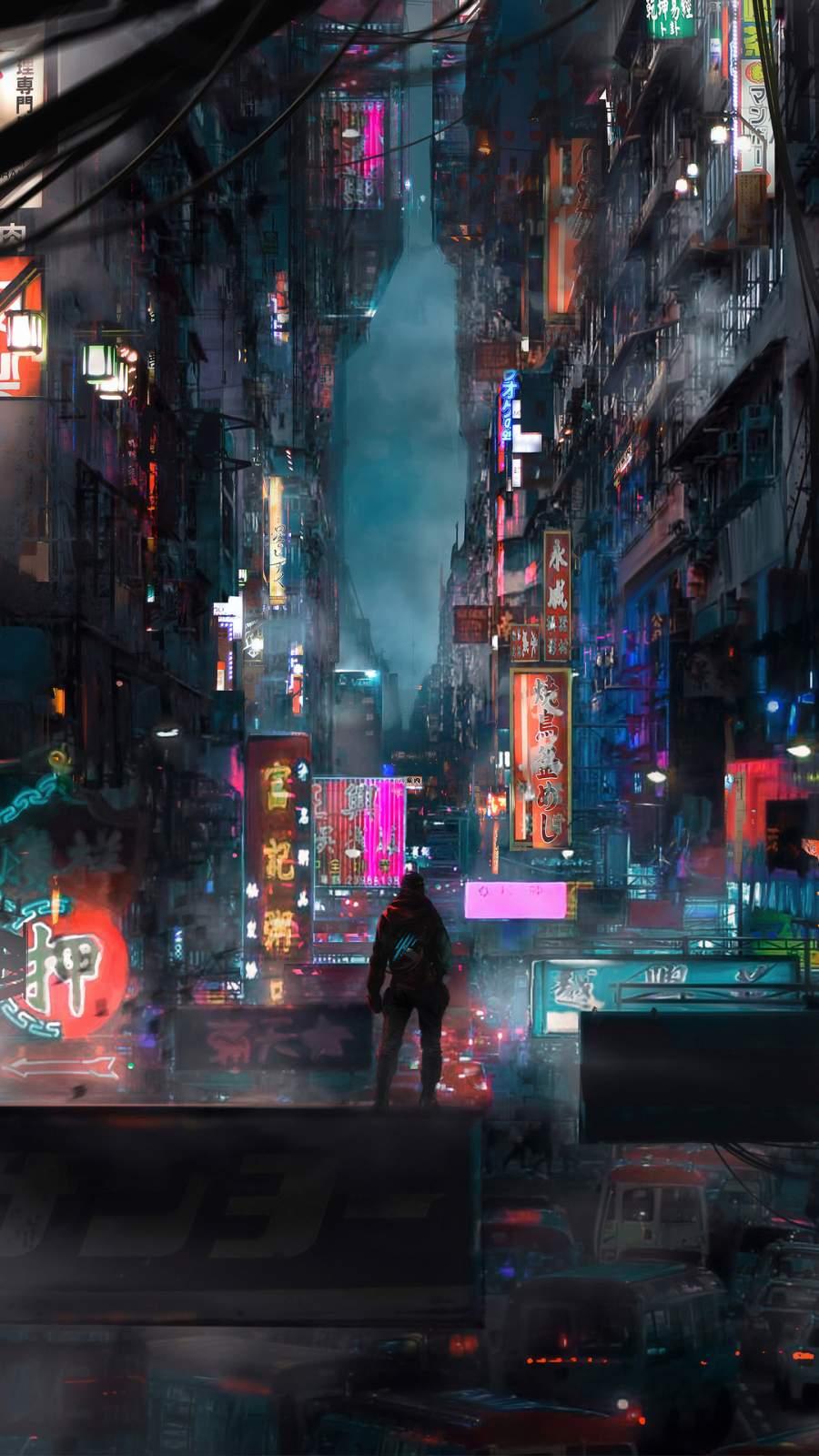 Cyberpunk World iPhone Wallpaper