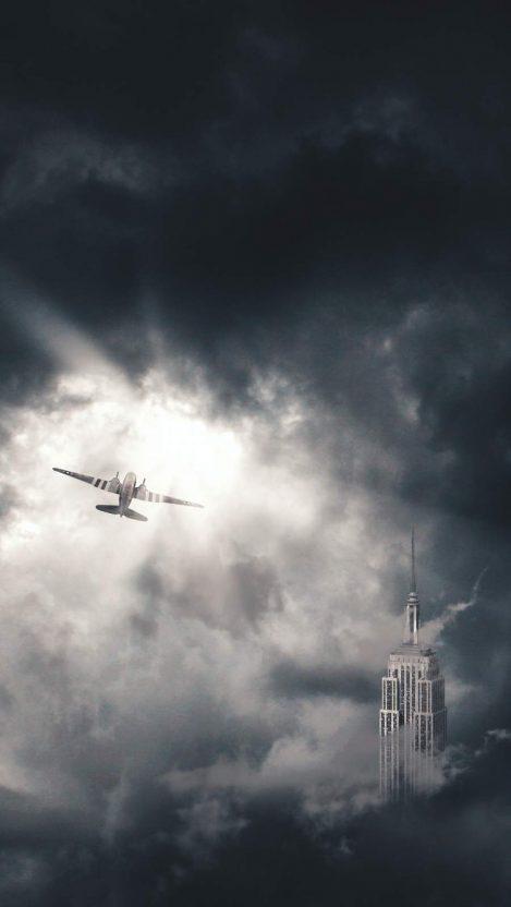 DC 3 in Clouds iPhone Wallpaper