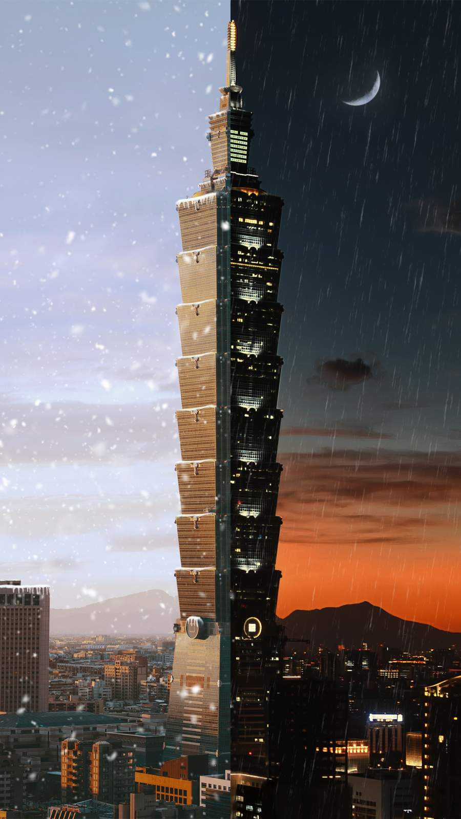 Day Night Taipei 101 iPhone Wallpaper