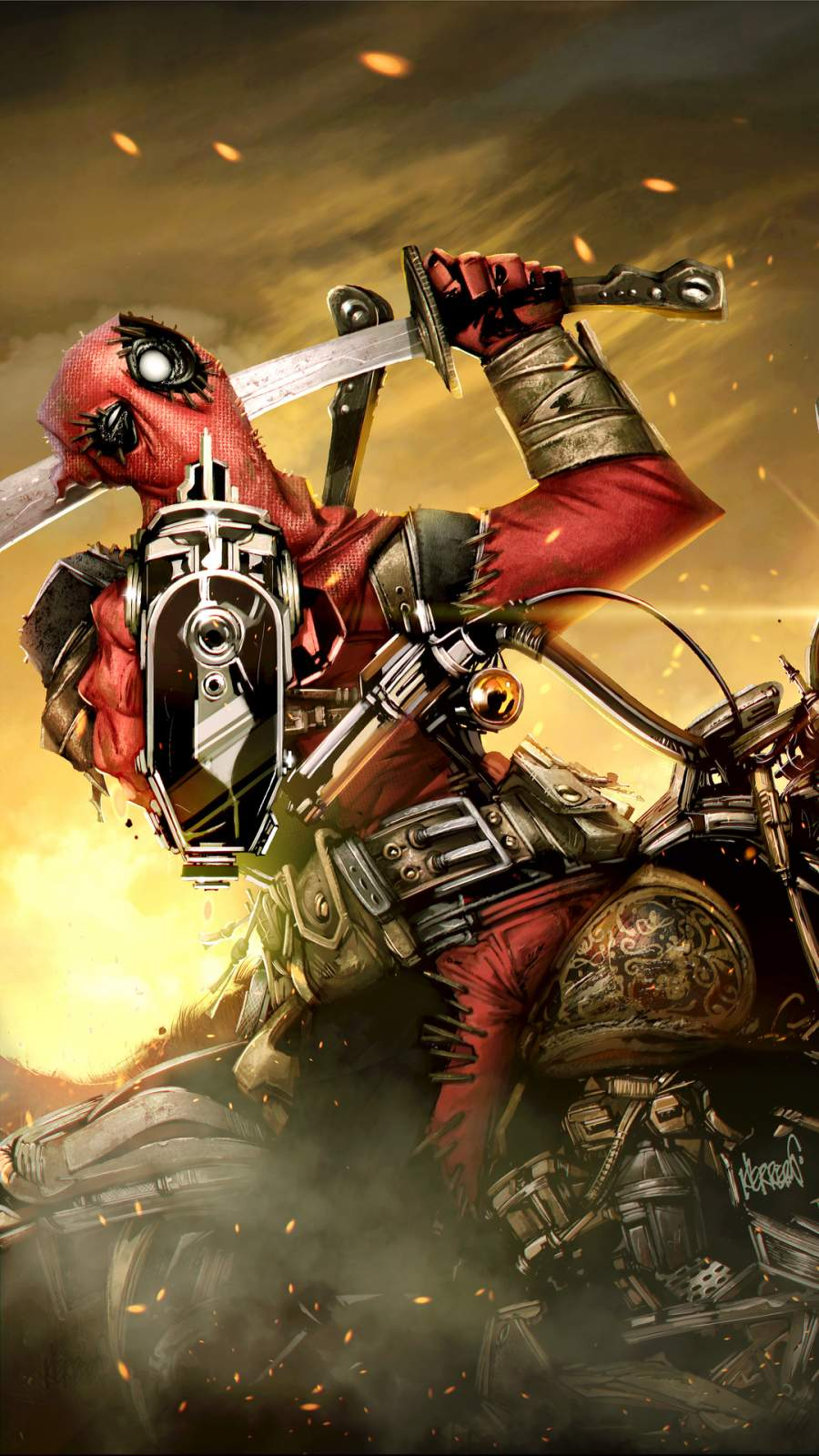 Deadpool on Ride iPhone Wallpaper