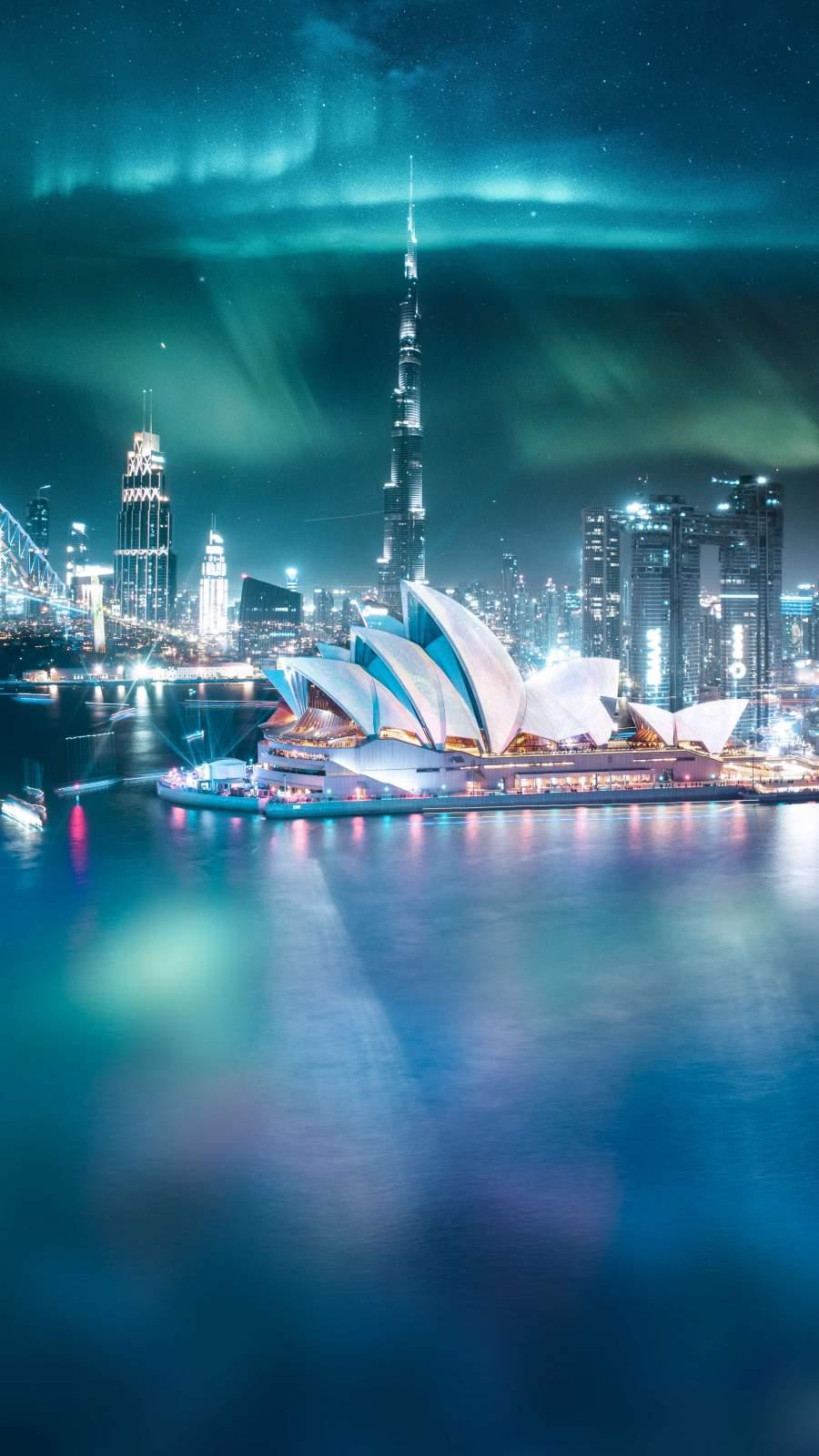 Dubai and Sydney Crossover iPhone Wallpaper