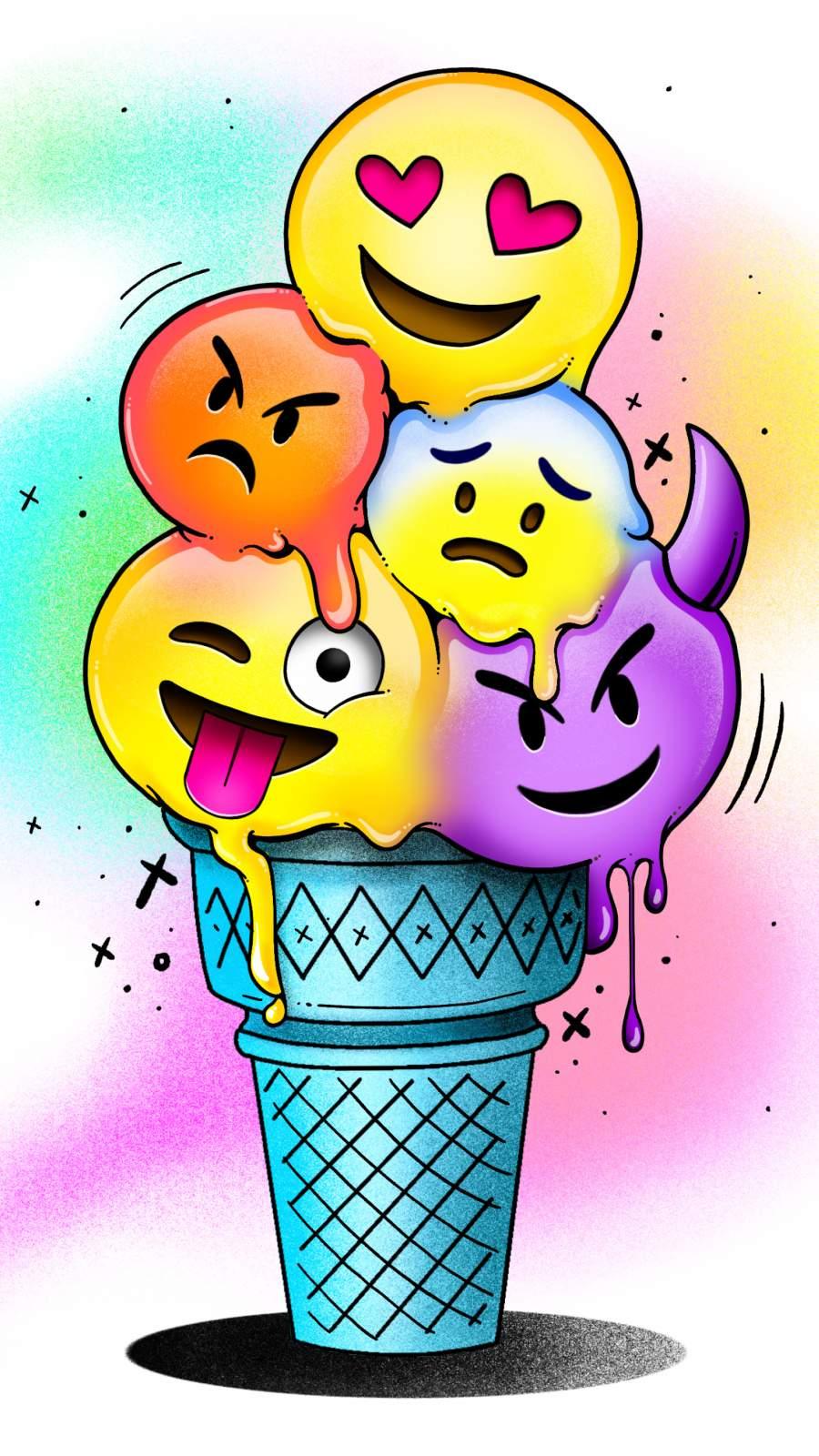 Emoji Cone iPhone Wallpaper