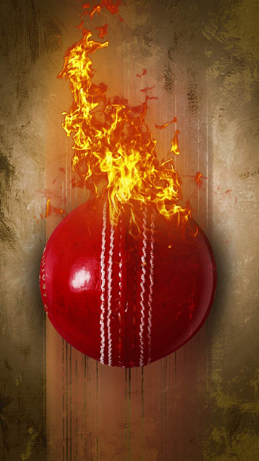 Flaming Cricket Ball iPhone Wallpaper